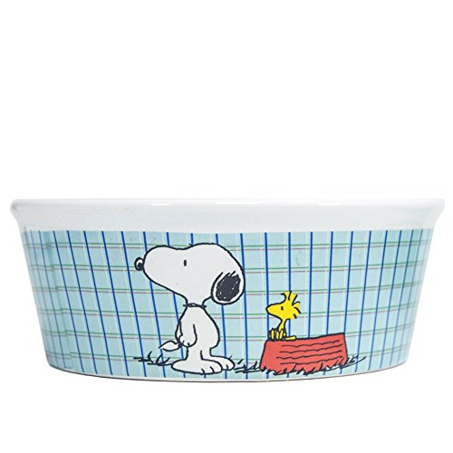 Peanuts Snoopy 'All Gone' Dog Food Bowl - Heavy Stoneware...