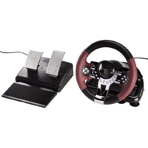 Hama Racing Wheel Thunder V5 (Dual Vibration, Gas- und Bremspedal, USB-Anschluss, geeignet für PlayStation 3/PC) schwarz/rot/metallic