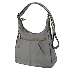 Travelon Anti-theft Signature Top Zip Shoulder Bag, Pewter, One Size