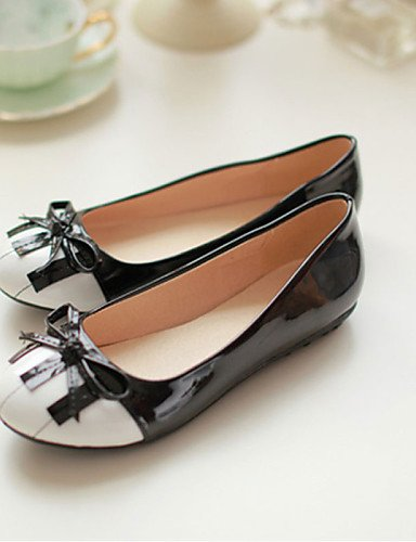 de y sintética cn34 negro us5 plano PDX blanco Flats white redonda piel mujer de zapatos Casual eu35 talón uk3 black punta and dXfOBq