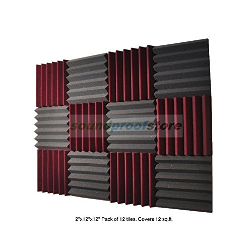 soundproof-store-4492-acoustic-wedge-soundproofing-studio-foam-tiles-2-x-12-x-12-inch-pack-of-12-cha