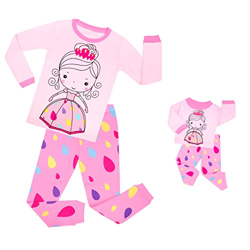 TinaLuLing Fashion Matching Girls&Doll 2 Pieces Pajamas Kids Cotton Princess Sleepwear Children Pyjamas for 2-8 years (8 years)