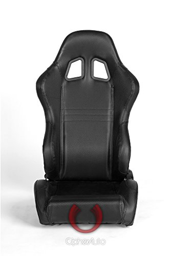 Cipher CPA1007CFBK Auto Black Carbon Fiber PVC Racing Seats