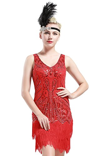 BABEYOND Women's Flapper Dresses 1920s V Neck Beaded Fringed Great Gatsby Dress (Small, Red) -