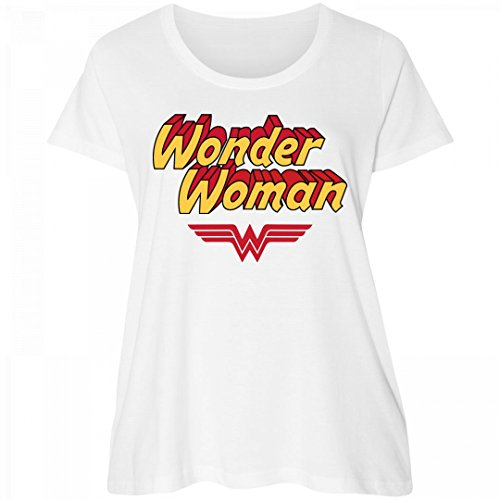 Wonder Woman Parody Plus Tee: Women's Curvy Plus Size Scoopneck T-Shirt (Most Powerful Female Superhero)
