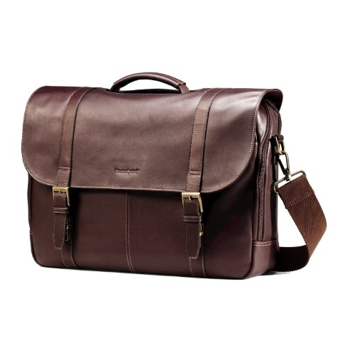 (Samsonite Colombian Leather Flap-Over Messenger Bag, Brown)