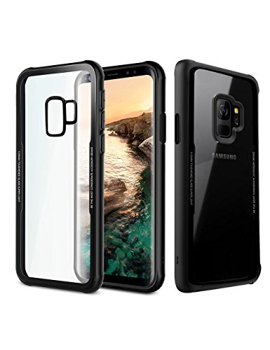 Galaxy S9 Plus Case Clear, Hybrid Clear Glass Case Thin Protective Back with Soft Slim Bumper Shockproof Cover [Anti-Scratch Resistant] [Support Wireless Charging] for Samsung Galaxy S9 Plus-Black