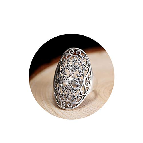 (Beydodo Sterling Silver Rings for Men 925, Gothic Rings Unisex Hollow Chinese Filigree Ring Size)