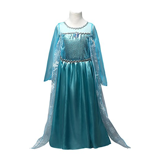 [FE3 Frozen Inspired Elsa Sequins Girl Dress Halloween Costume 2T-10 USA (7-8 (140cm))] (Gir Costume)