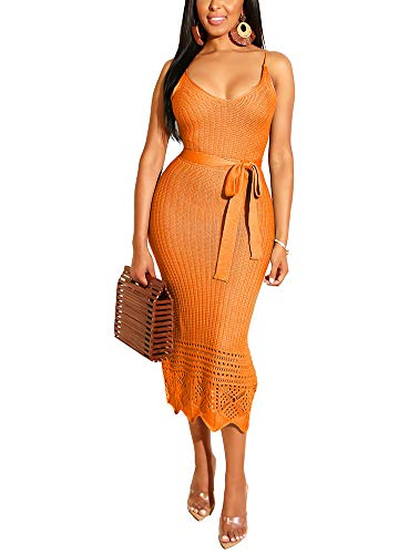 Women's Spaghetti Strap Midi Dress - Cute Bowknot Crochet Slip Dress Large - Orange Crochet