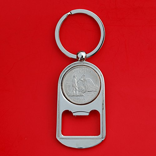 Silver Quarter Key (US 2005 California State Quarter BU Uncirculated Coin Silver Tone Key Chain Ring Bottle Opener NEW)