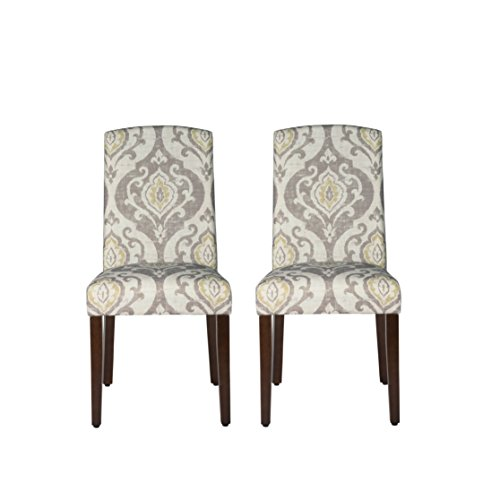 (HomePop Parsons Classic Upholstered Accent Dining Chair with Curved Top, Set of 2, Suri)