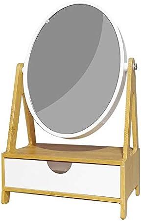 BuyStar Specchio Ovale con Cassettiera Porta Oggetti Gioielli da Tavolo in Polistirene Bianco e Bamboo