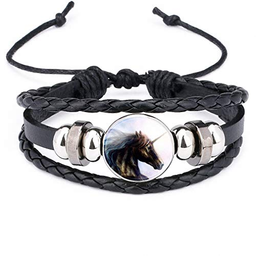 Giwotu Womens Unicorn Pegasus Fly Horse Glass Cabochon Braided Multi Layer Bracelets Men Women Fashion Leather Bead Bangle -