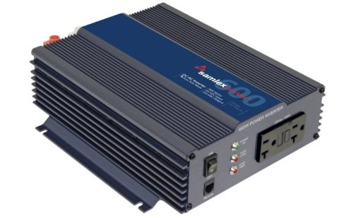 Samlex PST-600-24 PST Series Pure Sine Wave DC-AC Power Inverter, 600W Continuos Power Output, 1000W Surge Power Output, Low interference Wide operating DC input range 21.4 - 33.0 (20r Front Outlets)