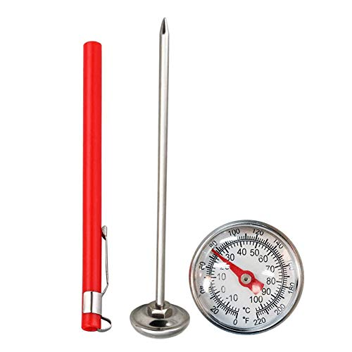 Wind-Susu Stainless Steel Soil Thermometer | 127mm Stem, Easy-to-Read 29mm Dial Display, 0-100 Degrees Celsius Range | Soil Temperature Thermometer for Ground, Garden Soil, Compost ()