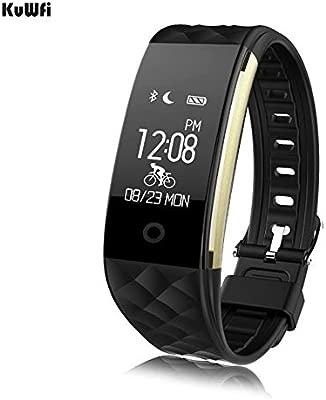 KuWFi S2 Reloj Inteligente Deporte Pulsera Inteligente Banda muñeca Monitor de frecuencia Cardiaca IP67 Impermeable Bluetooth SmartBand para iPhone ...