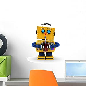 Wallmonkeys Robot Having a Drink Wall Decal Peel and Stick Graphic WM271824 (18 in H x 15 in W)