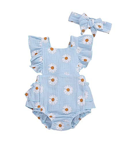 Baby Girls Daisy Playsuits Ruffled Bodysuit+Headband Print Fly Sleeve Romper Floral Jumpsuit Infant Summer Clothes
