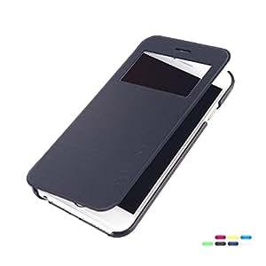 dodocool Funda para móvil Funda Volteada para iphone 6 cubierta de PU ultra fino con una ventana de vista para Apple iPhone 6 (Negro)