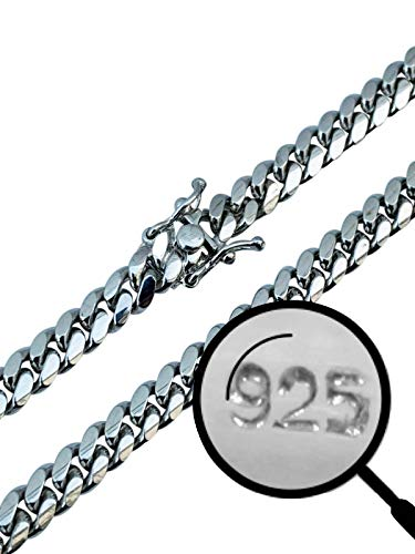 Harlembling Real Solid 925 Sterling Silver Miami Cuban Chain - Heavy Men's 6mm Box Lock Cuban Chain - 18-30