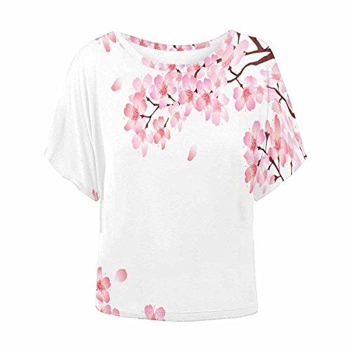 (INTERESTPRINT Women O Neck T-Shirt Casual Batwing Shirts Blouse Cherry Blossom 4XL)