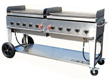 Crown Verity CV-MG-72-NG 81'' Wide Natural Gas Mobile Griddle with 159 000 BTU/H 10 Burners 70'' Cooking Surface Pro Griddle Plates Splash Guard and Removable Grease Tray in Stainless by Crown Verity