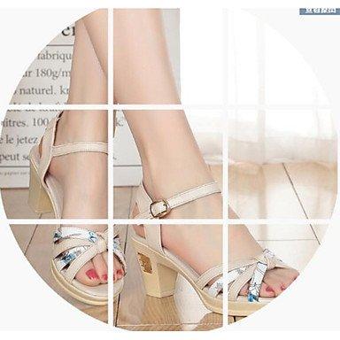LvYuan Mujer Sandalias Confort Cuero real Verano Casual Confort Beige Azul 2'5 - 4'5 cms beige