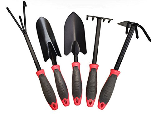 GTOT 5Pieces Garden Tools Set,Metal Flower Shovel,Dual Hoe,Five Teeth Rake,Garden Hand Tools Set with Black Plastic Polishing Soft Handle by GTOT