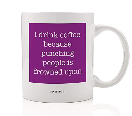 (COFFEE NO PUNCHING Purple Mug Funny Gift Idea Loosen Up Drink A Latte & Keep Your Hands To Yourself Christmas Birthday Present Family Friend Coworker 11oz Ceramic Beverage Tea Cup Digibuddha DM0612)