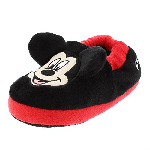 Mickey Mouse Kids Aline Slippers (9/10 M US Toddler, Black/Red)