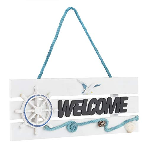Beautyflier Wooden Welcome Sign Ornament Beach Wall Decor Hanging Sign for Home Wall Cafe Store Front Door Nautical Decor 11