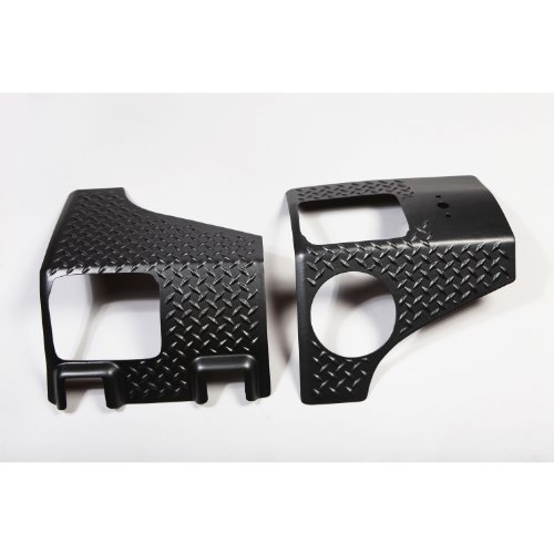 Rugged Ridge 11651.01 Black Diamond Plate Body Armor Kit, Rear Quarter Panel- Pair for 2007-2018 Jeep Wrangler Unlimited
