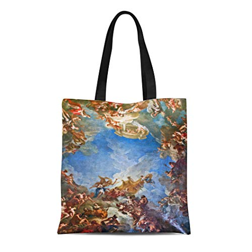 Semtomn Cotton Line Canvas Tote Bag France Hercules Allegory Travel Fine Photography Mythology Vintage Versailles Reusable Handbag Shoulder Grocery Shopping Bags