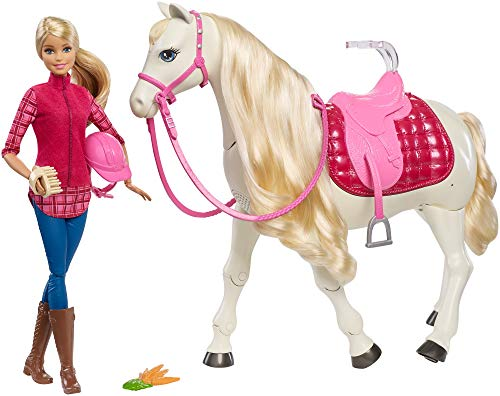 Barbie FRV36 FAMILY with Dream Horse Moving Pony, Real Sounds, Pink Accessories Playset