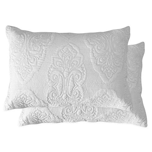 Standard Matelasse Sham - Brandream White Paisley Quilted Pillow Shams Standard Size Pillow Cases Set of 2 100% Cotton Soft Decorative Pillow Covers