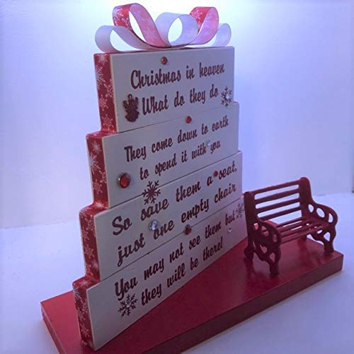 Christmas in Heaven, save them a seat, one empty chair, Stained or Painted white with red and white snowflake ribbon, snowflakes with Red Detailed Bench (Plaques Benches Memorial For Ideas)