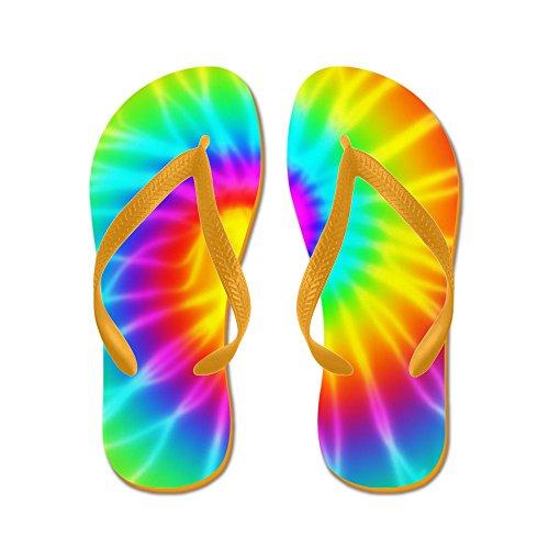 Cafepress Retro Tie Dye Effect Groovy - Flip Flops, Grappige String Sandalen, Strand Sandalen Oranje