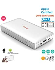 1000GB(1TB) Hard Drive for iPhone 5/6/7/8/X/XR/XS MAX,USB3.0 External Storage Photo Stick Compatible with New iPad Pro,MacBook and PC (APP management),MFi Certified