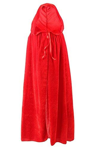 SENSERISE Unisex Halloween Velvet Hooded Cloak Costumes Party Cosplay Capes (Red,S) (Velvet Hooded Cloak Unisex)
