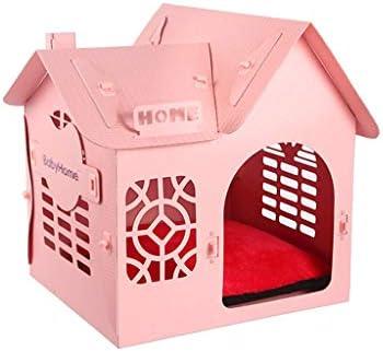 ペットベット ケンネルプラスチック犬猫リッターハウスヴィラ四季ユニバーサルウォッシャブルペットネスト中型スモールドッグハウス ベッド・ソファ SHANCL (Color : Pink)