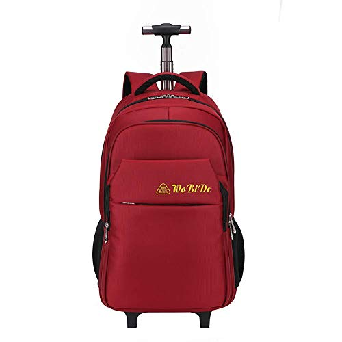 Flight Case Super Lightweight Waterproof Travel Wheeled Rolling Trolley Backpack, Executive Mobile Office Business Hand Cabin Luggage Laptop Rucksack Shoulder Bag-Red