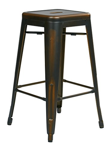 Office Star Bristow Antique Metal Barstool, 26-Inch, Antique Copper, 4-Pack