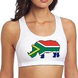 South Africa Flag Rhino Women's Seamless Wireless Workout Yoga Sports Bra for Yoga Gym Workout Fitness