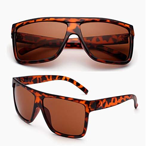 Cool UV400 de para Pareja Gafas Grande Marco de para Sol con Gran Gafas Unisex de conducción Hombre Gafas tamaño de So HD de Sol Ultravioleta de Mujer Estilo Leopardo Retro White de Sol Black qOBwSxAxv