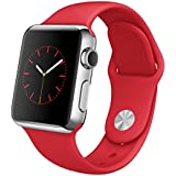 "Apple Watch 38 mm (1ª Generación) - Smartwatch iOS con caja de acero inoxidable en plata (pantalla 1.32"", Apple S1 a 520 MHz, 8 GB, 512 MB RAM), correa deportiva roja"