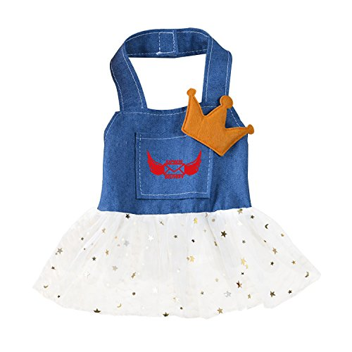 Pet Clothes Dog Dress Embroidered Cartoon Express delivery Jean Vest (Costumes Express Delivery)