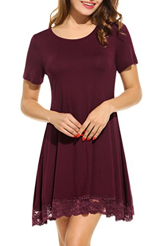 Sleeve 3/4 Shorts Sleeve Short - Meaneor Women's Short Sleeve Shift Lace Stitching Trim Casual Tunic Dress