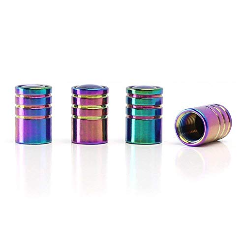 iJDMTOY (4 Tuner Racing Style Neo Chrome Aluminum Tire Valve Caps (Cylinder ()