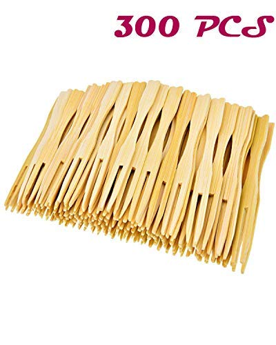 Agreatca 300 PCS 3.5 inch Total Bamboo Forks,Food Picks Double Prong,Cocktail Forks Blunt,Bamboo Party Forks,Blunt End Toothpicks
